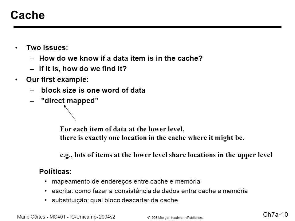 1998 Morgan Kaufmann Publishers Mario Côrtes - MO401 - IC/Unicamp- 2004s2 Ch7a-10 Two issues: –How do we know if a data item is in the cache? –If it i