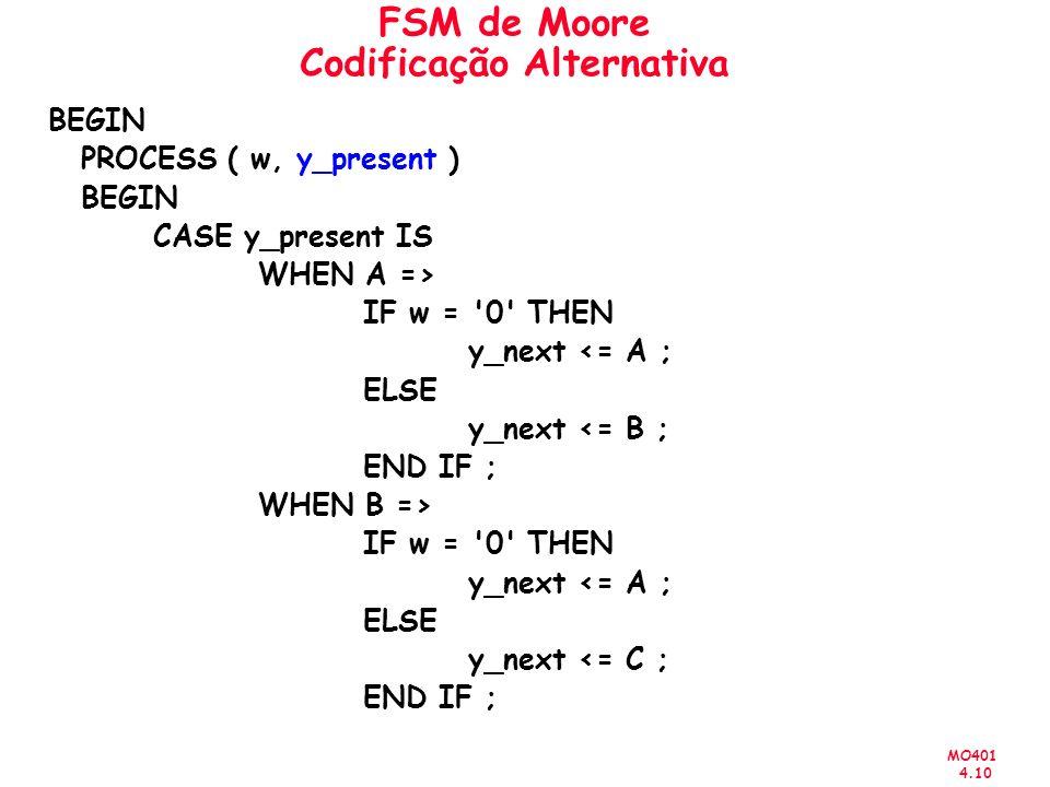 MO401 4.10 FSM de Moore Codificação Alternativa BEGIN PROCESS ( w, y_present ) BEGIN CASE y_present IS WHEN A => IF w = 0 THEN y_next <= A ; ELSE y_next <= B ; END IF ; WHEN B => IF w = 0 THEN y_next <= A ; ELSE y_next <= C ; END IF ;