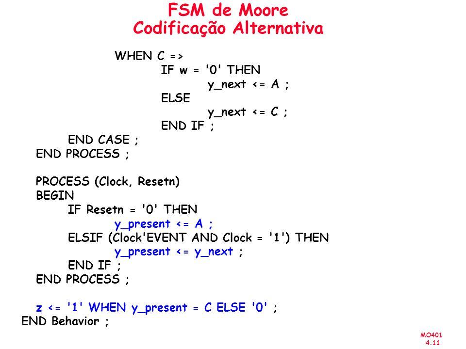 MO401 4.11 FSM de Moore Codificação Alternativa WHEN C => IF w = '0' THEN y_next <= A ; ELSE y_next <= C ; END IF ; END CASE ; END PROCESS ; PROCESS (