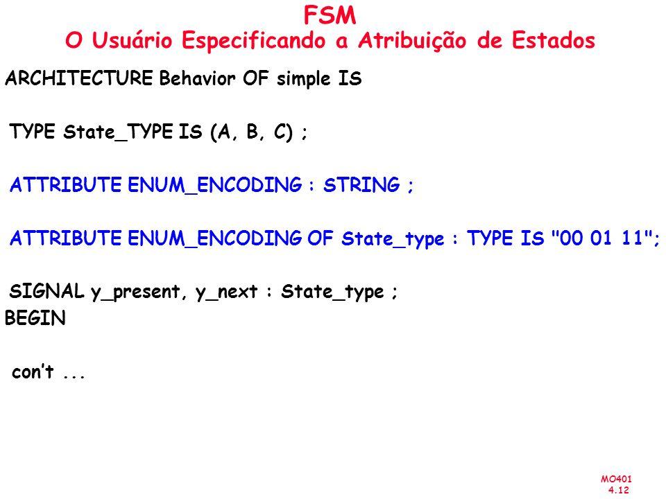MO401 4.12 FSM O Usuário Especificando a Atribuição de Estados ARCHITECTURE Behavior OF simple IS TYPE State_TYPE IS (A, B, C) ; ATTRIBUTE ENUM_ENCODI