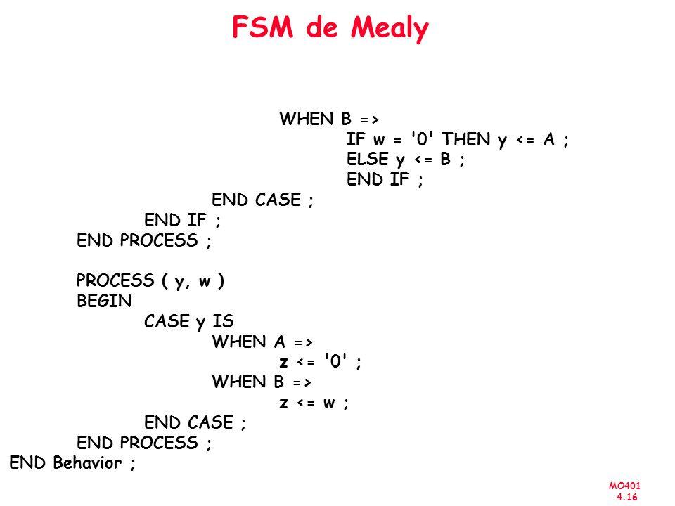 MO401 4.16 FSM de Mealy WHEN B => IF w = 0 THEN y <= A ; ELSE y <= B ; END IF ; END CASE ; END IF ; END PROCESS ; PROCESS ( y, w ) BEGIN CASE y IS WHEN A => z <= 0 ; WHEN B => z <= w ; END CASE ; END PROCESS ; END Behavior ;