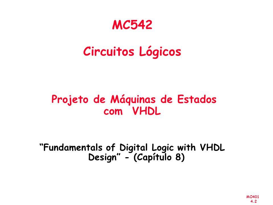 MO401 4.2 MC542 Circuitos Lógicos Projeto de Máquinas de Estados com VHDL Fundamentals of Digital Logic with VHDL Design - (Capítulo 8)