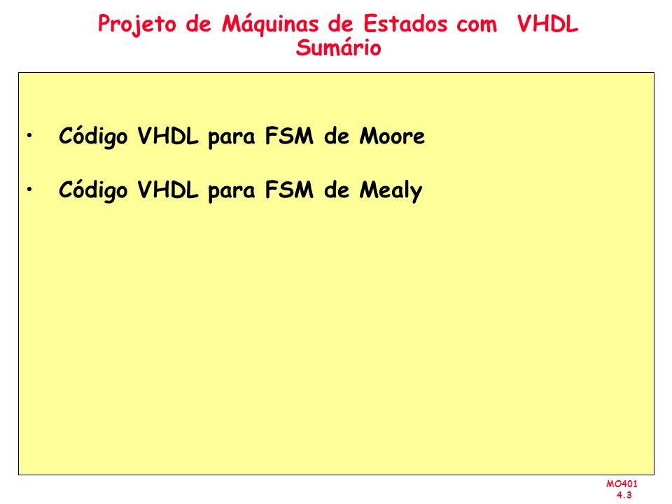 MO401 4.3 Projeto de Máquinas de Estados com VHDL Sumário Código VHDL para FSM de Moore Código VHDL para FSM de Mealy