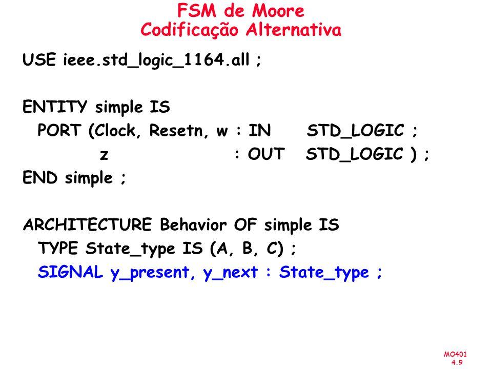 MO401 4.9 FSM de Moore Codificação Alternativa USE ieee.std_logic_1164.all ; ENTITY simple IS PORT (Clock, Resetn, w : IN STD_LOGIC ; z : OUT STD_LOGI