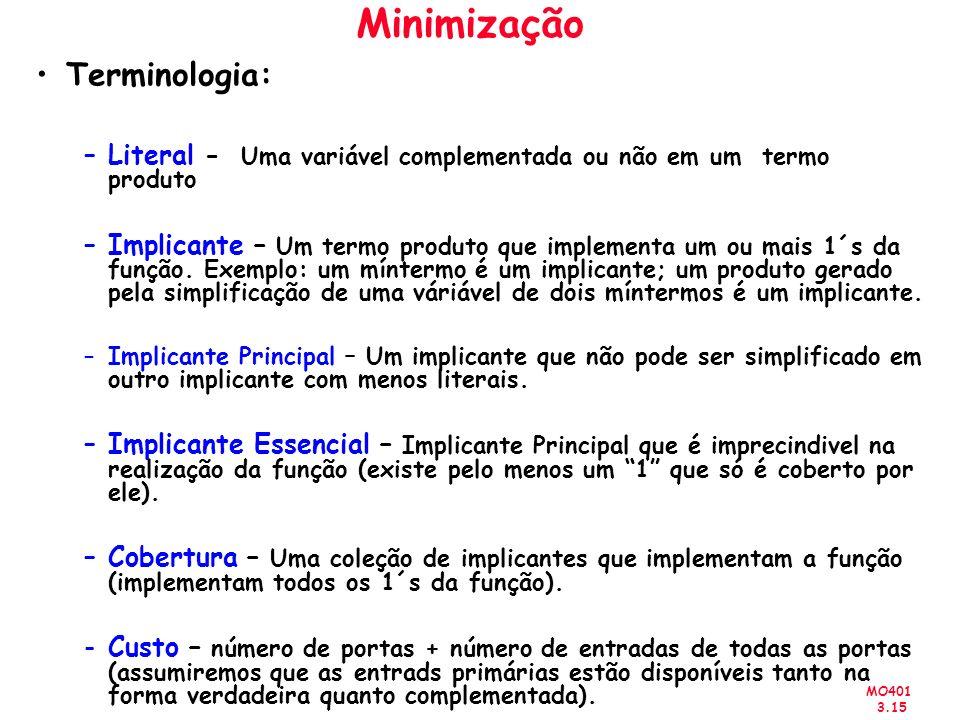 MO401 3.15 Minimização Terminologia: –Literal - Uma variável complementada ou não em um termo produto –Implicante – Um termo produto que implementa um