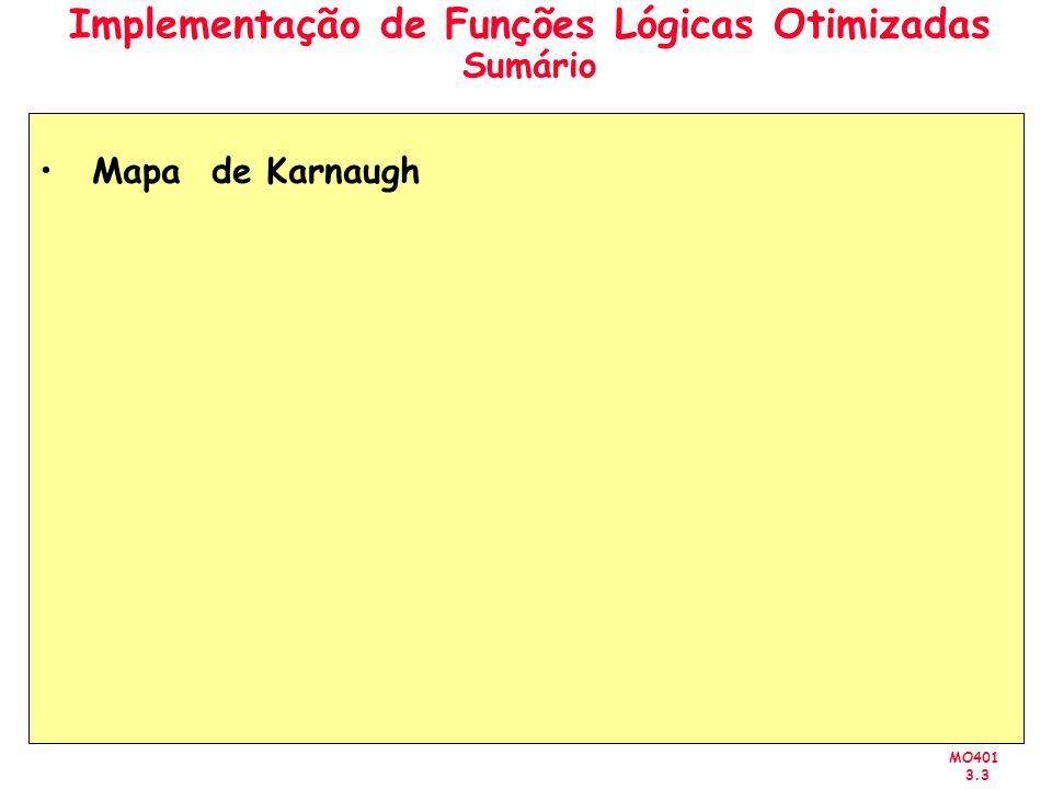 MO401 3.3 Implementação de Funções Lógicas Otimizadas Sumário Mapa de Karnaugh