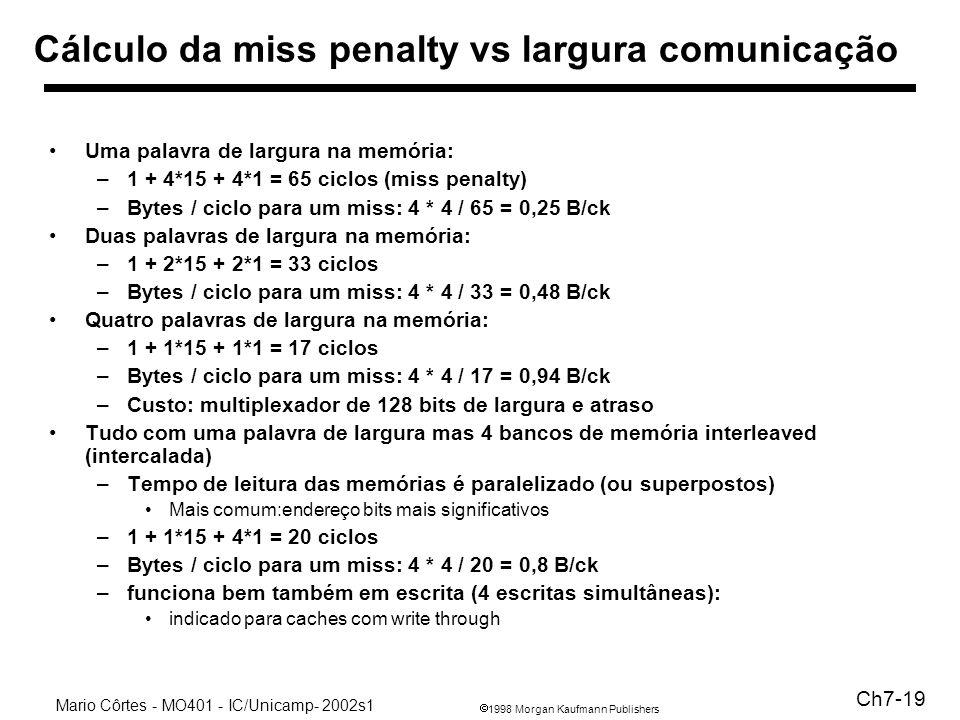 1998 Morgan Kaufmann Publishers Mario Côrtes - MO401 - IC/Unicamp- 2002s1 Ch7-19 Cálculo da miss penalty vs largura comunicação Uma palavra de largura na memória: –1 + 4*15 + 4*1 = 65 ciclos (miss penalty) –Bytes / ciclo para um miss: 4 * 4 / 65 = 0,25 B/ck Duas palavras de largura na memória: –1 + 2*15 + 2*1 = 33 ciclos –Bytes / ciclo para um miss: 4 * 4 / 33 = 0,48 B/ck Quatro palavras de largura na memória: –1 + 1*15 + 1*1 = 17 ciclos –Bytes / ciclo para um miss: 4 * 4 / 17 = 0,94 B/ck –Custo: multiplexador de 128 bits de largura e atraso Tudo com uma palavra de largura mas 4 bancos de memória interleaved (intercalada) –Tempo de leitura das memórias é paralelizado (ou superpostos) Mais comum:endereço bits mais significativos –1 + 1*15 + 4*1 = 20 ciclos –Bytes / ciclo para um miss: 4 * 4 / 20 = 0,8 B/ck –funciona bem também em escrita (4 escritas simultâneas): indicado para caches com write through