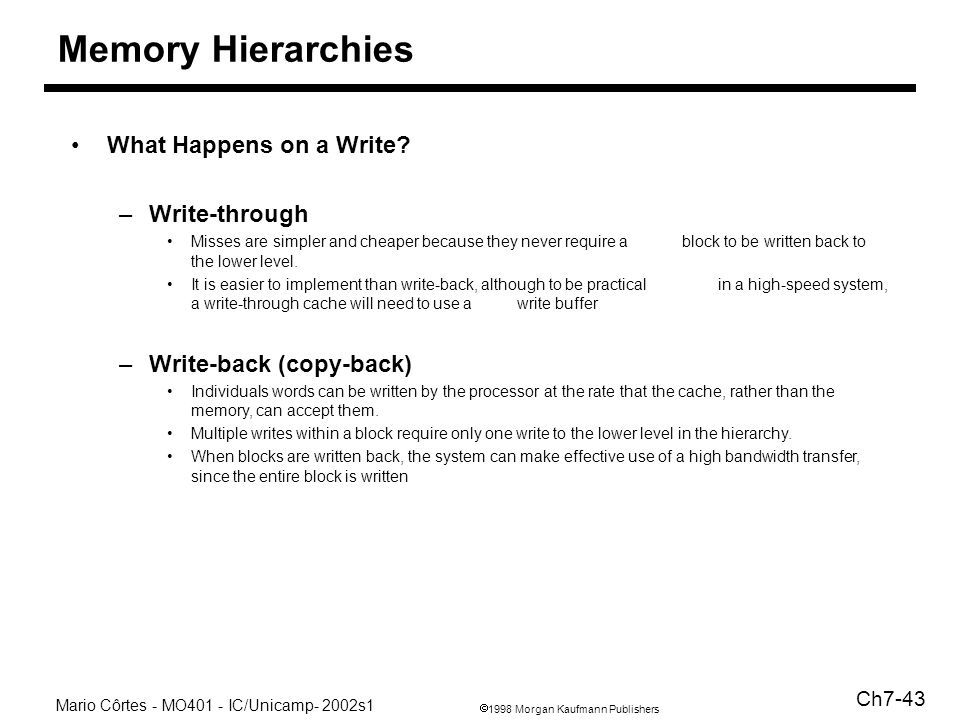 1998 Morgan Kaufmann Publishers Mario Côrtes - MO401 - IC/Unicamp- 2002s1 Ch7-43 Memory Hierarchies What Happens on a Write.