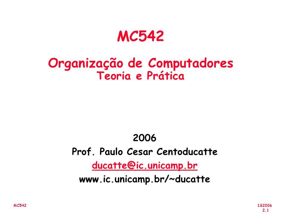 1S2006 2.22 MC542 Lógica Positiva e Negativa Logica Positiva: Tabela Verdade e Porta f 0 0 1 1 0 1 0 1 1 1 1 0 x 1 x 2 f x 1 x 2 1 1 0 0 1 0 1 0 0 0 0 1 x 1 x 2 f f x 1 x 2 Níveis de Tensão L H L L H H L H H H H L V x 1 V x 2 V f Logica Negativa: Tabela Verdade e Porta