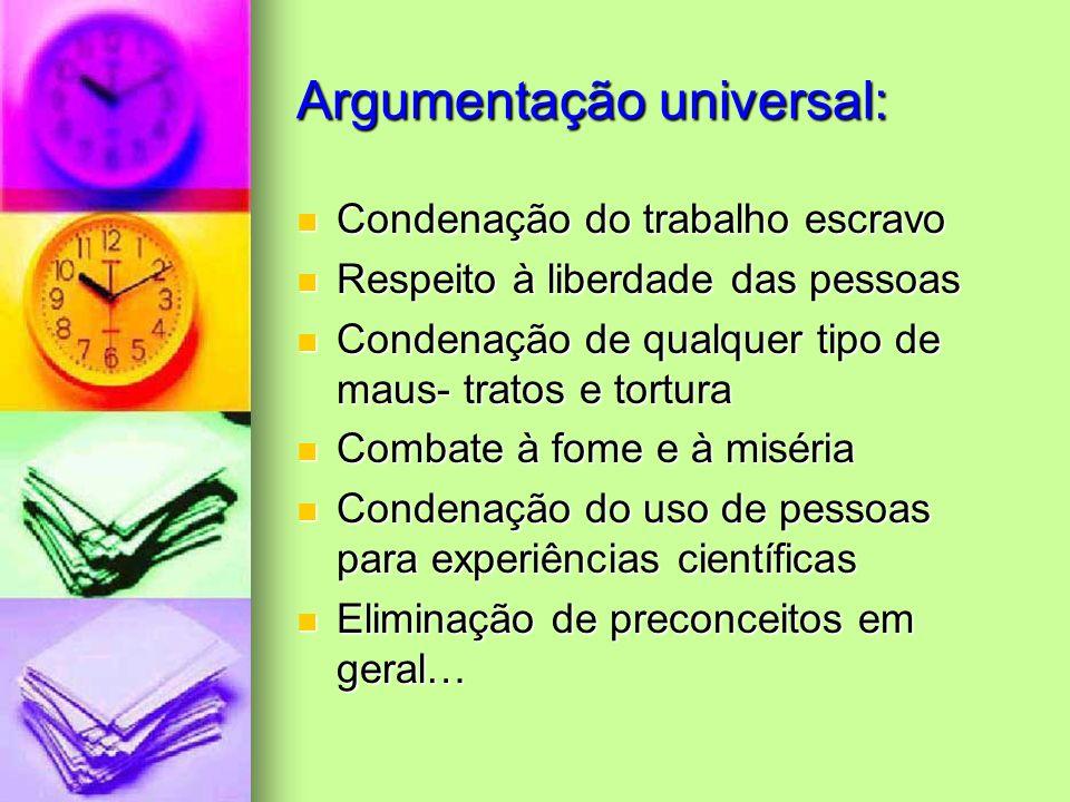 Argumentação universal: Condenação do trabalho escravo Condenação do trabalho escravo Respeito à liberdade das pessoas Respeito à liberdade das pessoa
