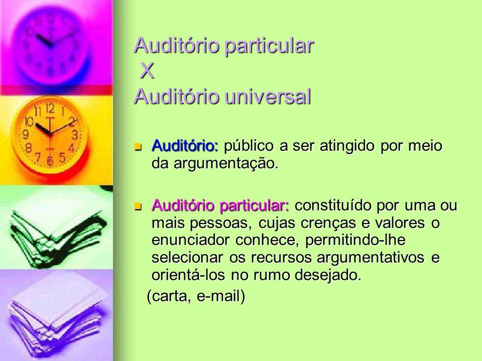Auditório particular X Auditório universal Auditório: público a ser atingido por meio da argumentação. Auditório: público a ser atingido por meio da a