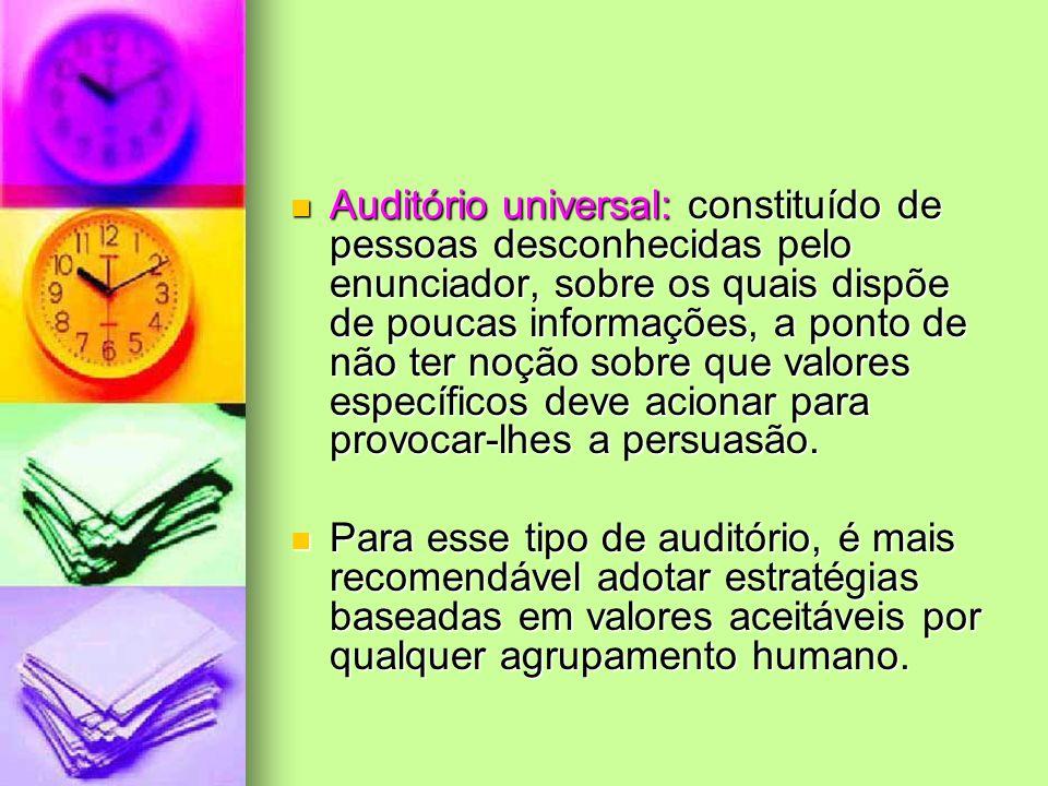 Auditório universal: constituído de pessoas desconhecidas pelo enunciador, sobre os quais dispõe de poucas informações, a ponto de não ter noção sobre