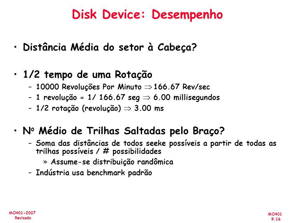 MO401 9.16 MO401-2007 Revisado Disk Device: Desempenho Distância Média do setor à Cabeça? 1/2 tempo de uma Rotação –10000 Revoluções Por Minuto 166.67