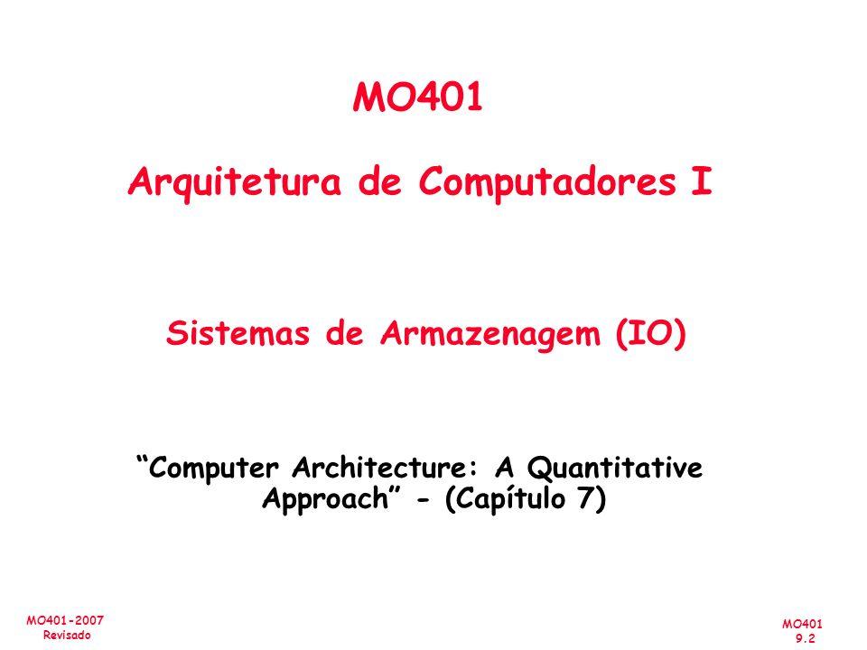 MO401 9.2 MO401-2007 Revisado MO401 Arquitetura de Computadores I Sistemas de Armazenagem (IO) Computer Architecture: A Quantitative Approach - (Capít