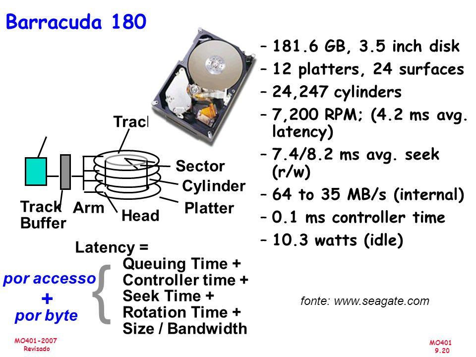 MO401 9.20 MO401-2007 Revisado Barracuda 180 Latency = Queuing Time + Controller time + Seek Time + Rotation Time + Size / Bandwidth por accesso por b