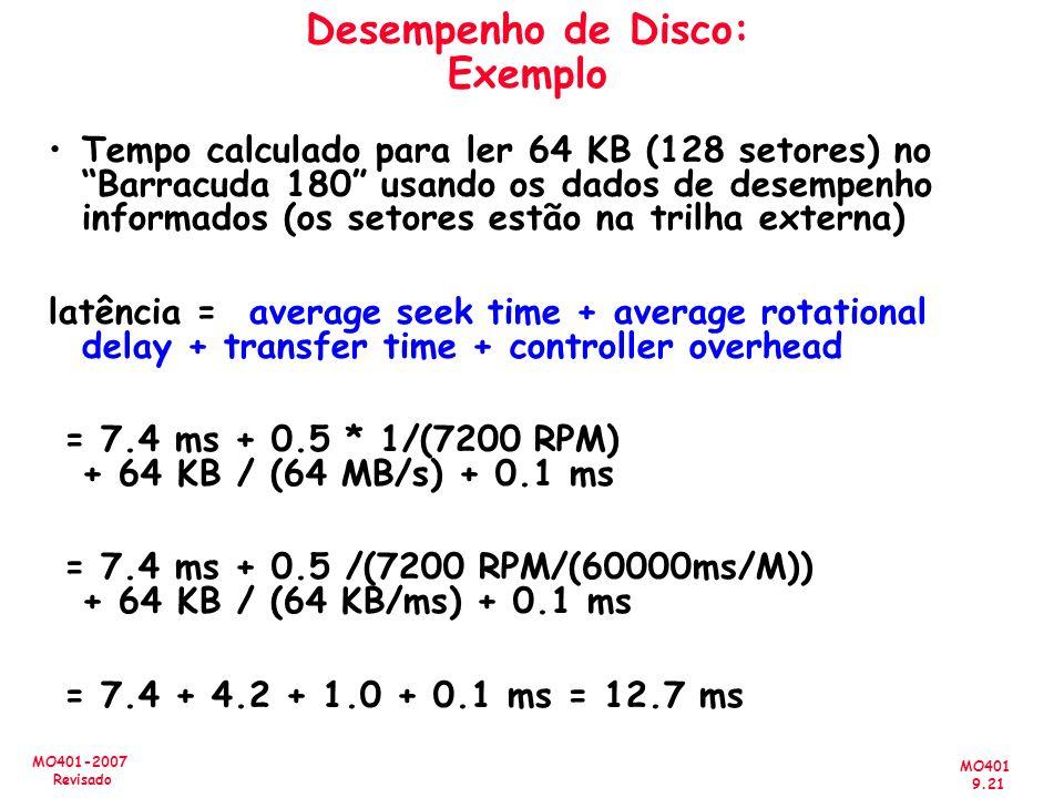 MO401 9.21 MO401-2007 Revisado Desempenho de Disco: Exemplo Tempo calculado para ler 64 KB (128 setores) no Barracuda 180 usando os dados de desempenh
