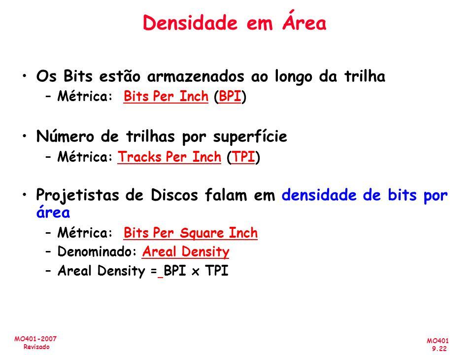 MO401 9.22 MO401-2007 Revisado Densidade em Área Os Bits estão armazenados ao longo da trilha –Métrica: Bits Per Inch (BPI) Número de trilhas por supe