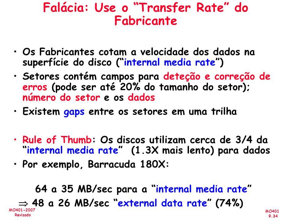 MO401 9.34 MO401-2007 Revisado Falácia: Use o Transfer Rate do Fabricante Os Fabricantes cotam a velocidade dos dados na superfície do disco (internal