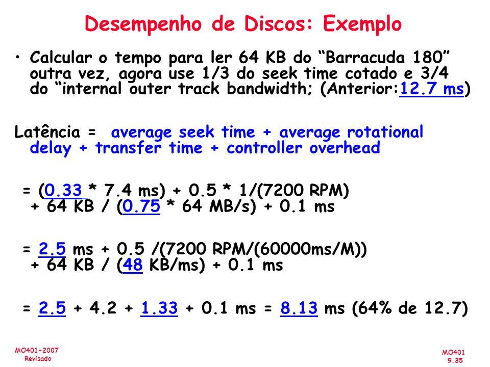 MO401 9.35 MO401-2007 Revisado Desempenho de Discos: Exemplo Calcular o tempo para ler 64 KB do Barracuda 180 outra vez, agora use 1/3 do seek time co