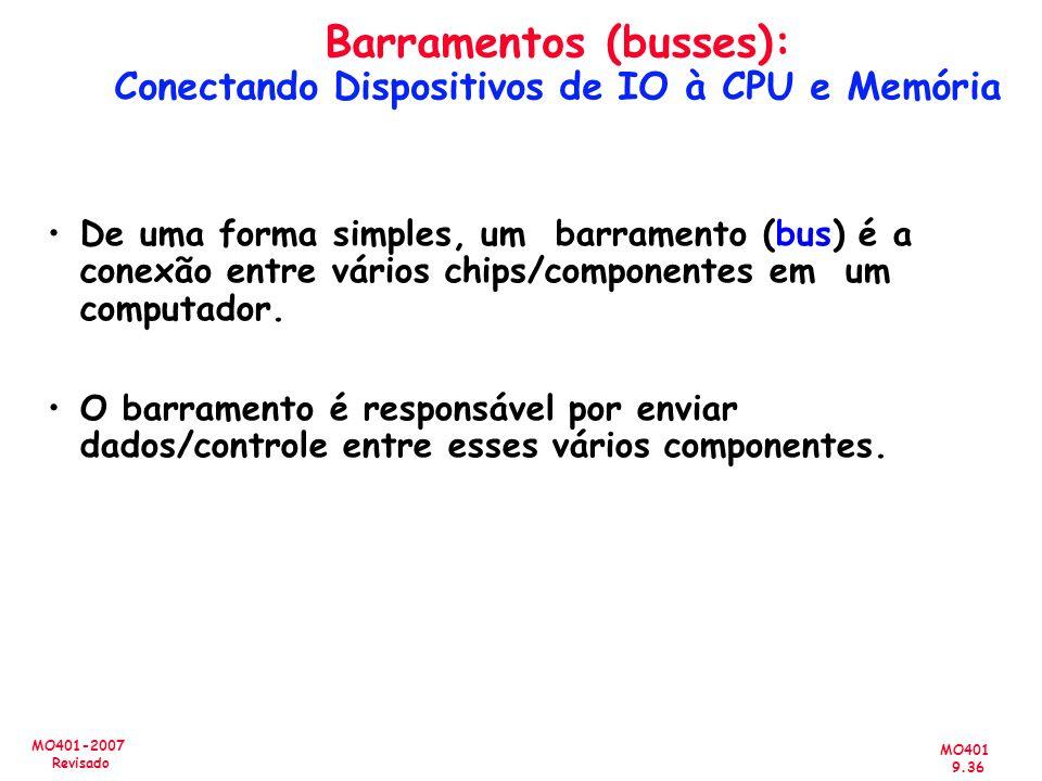 MO401 9.36 MO401-2007 Revisado Barramentos (busses): Conectando Dispositivos de IO à CPU e Memória De uma forma simples, um barramento (bus) é a conex