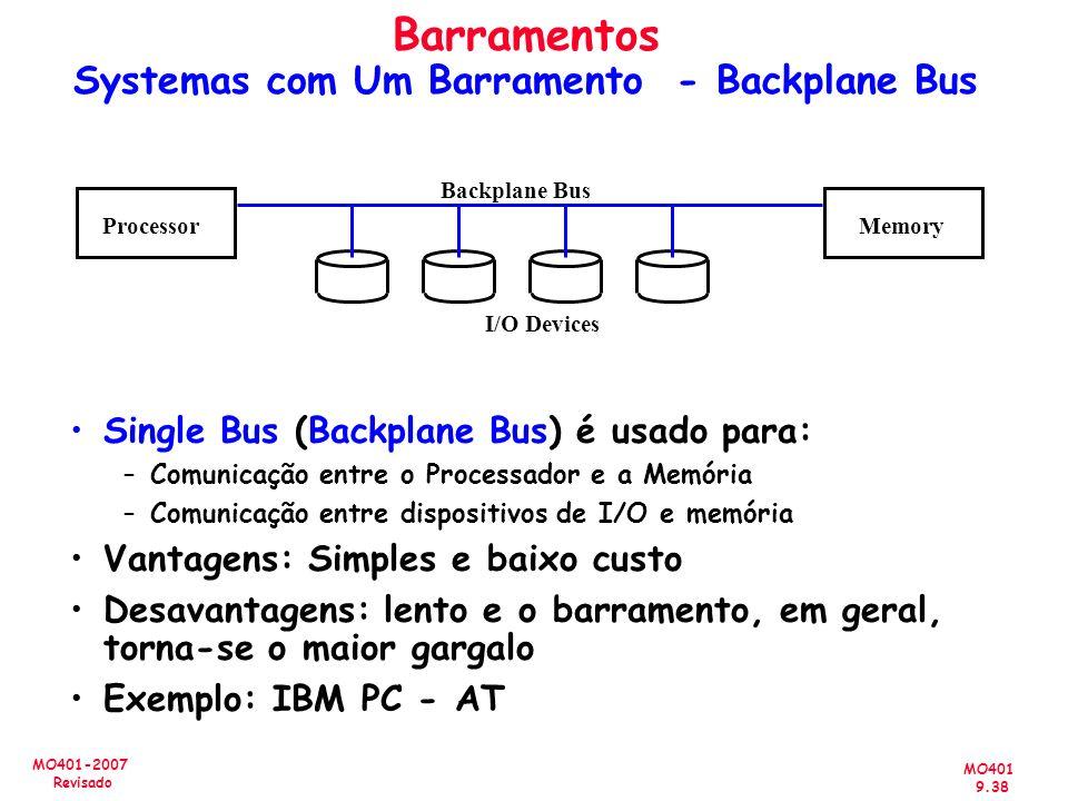 MO401 9.38 MO401-2007 Revisado Barramentos Systemas com Um Barramento - Backplane Bus Single Bus (Backplane Bus) é usado para: –Comunicação entre o Pr