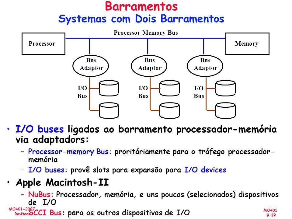 MO401 9.39 MO401-2007 Revisado Barramentos Systemas com Dois Barramentos I/O buses ligados ao barramento processador-memória via adaptadors: –Processo