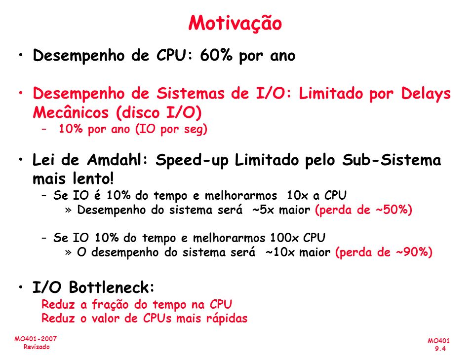 MO401 9.4 MO401-2007 Revisado Motivação Desempenho de CPU: 60% por ano Desempenho de Sistemas de I/O: Limitado por Delays Mecânicos (disco I/O) – 10%