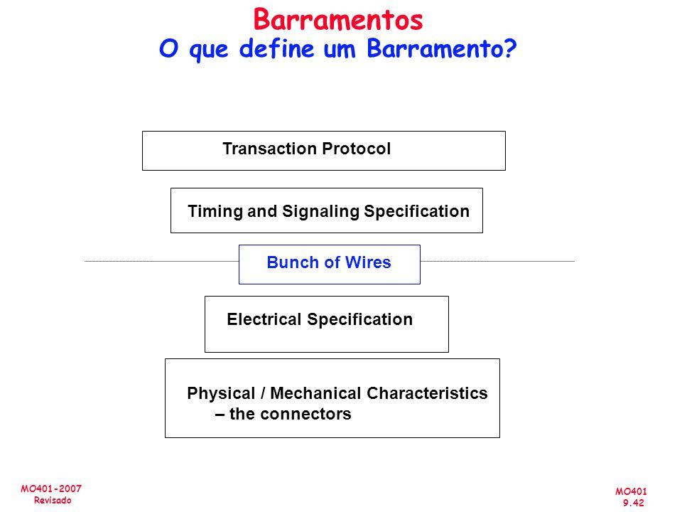 MO401 9.42 MO401-2007 Revisado Barramentos O que define um Barramento? Bunch of Wires Physical / Mechanical Characteristics – the connectors Electrica