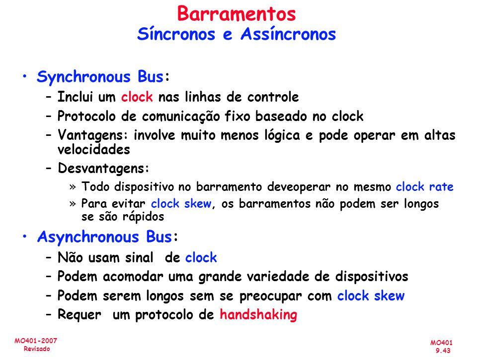 MO401 9.43 MO401-2007 Revisado Synchronous Bus: –Inclui um clock nas linhas de controle –Protocolo de comunicação fixo baseado no clock –Vantagens: in