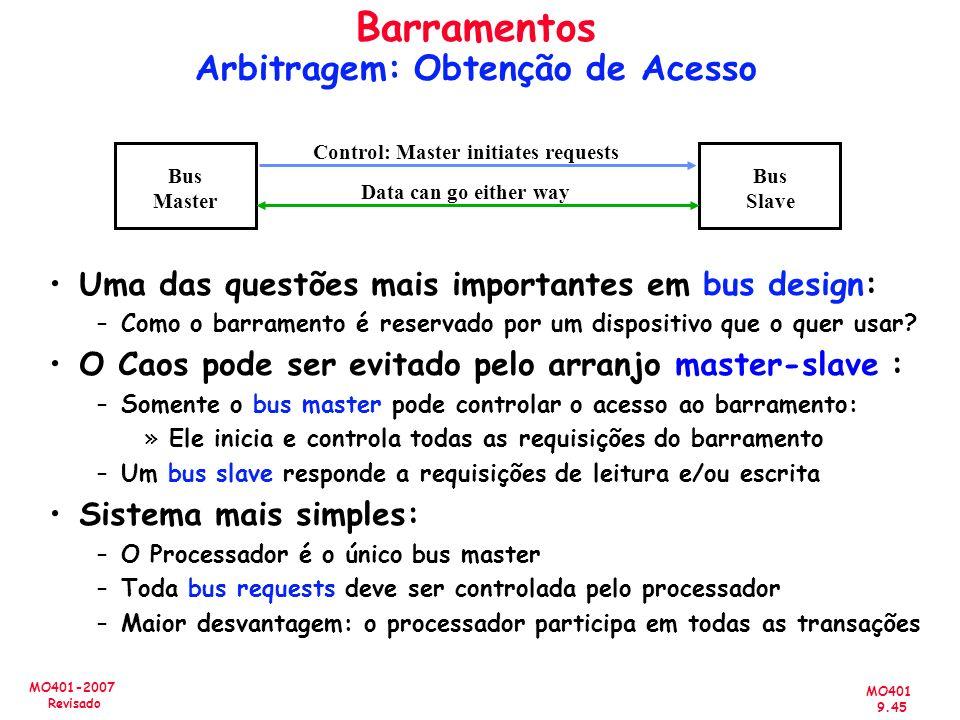 MO401 9.45 MO401-2007 Revisado Barramentos Arbitragem: Obtenção de Acesso Uma das questões mais importantes em bus design: –Como o barramento é reserv
