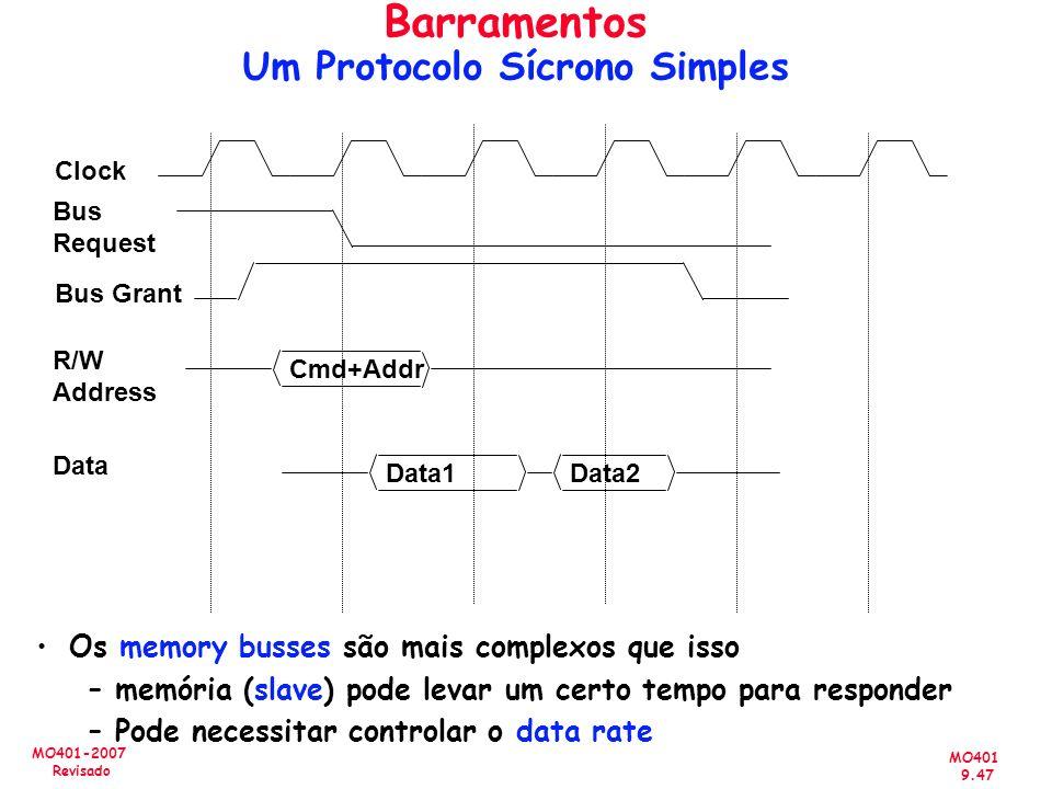 MO401 9.47 MO401-2007 Revisado Os memory busses são mais complexos que isso –memória (slave) pode levar um certo tempo para responder –Pode necessitar