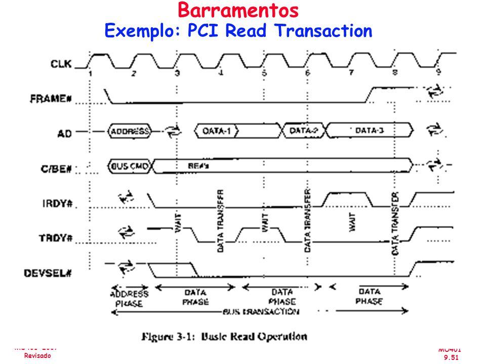 MO401 9.51 MO401-2007 Revisado Barramentos Exemplo: PCI Read Transaction