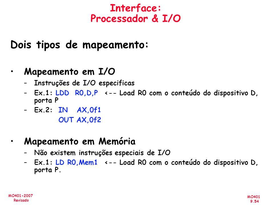 MO401 9.54 MO401-2007 Revisado Interface: Processador & I/O Dois tipos de mapeamento: Mapeamento em I/O –Instruções de I/O especificas –Ex.1: LDD R0,D