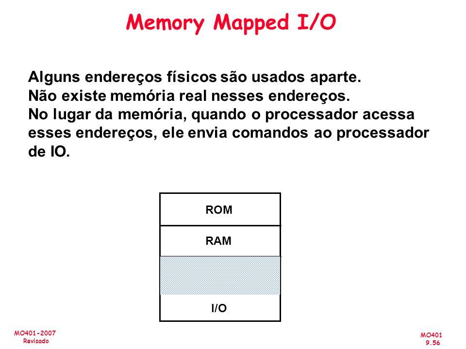 MO401 9.56 MO401-2007 Revisado Memory Mapped I/O ROM RAM I/O Alguns endereços físicos são usados aparte. Não existe memória real nesses endereços. No