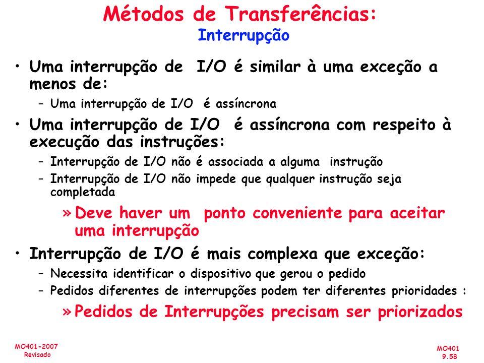 MO401 9.58 MO401-2007 Revisado Métodos de Transferências: Interrupção Uma interrupção de I/O é similar à uma exceção a menos de: –Uma interrupção de I
