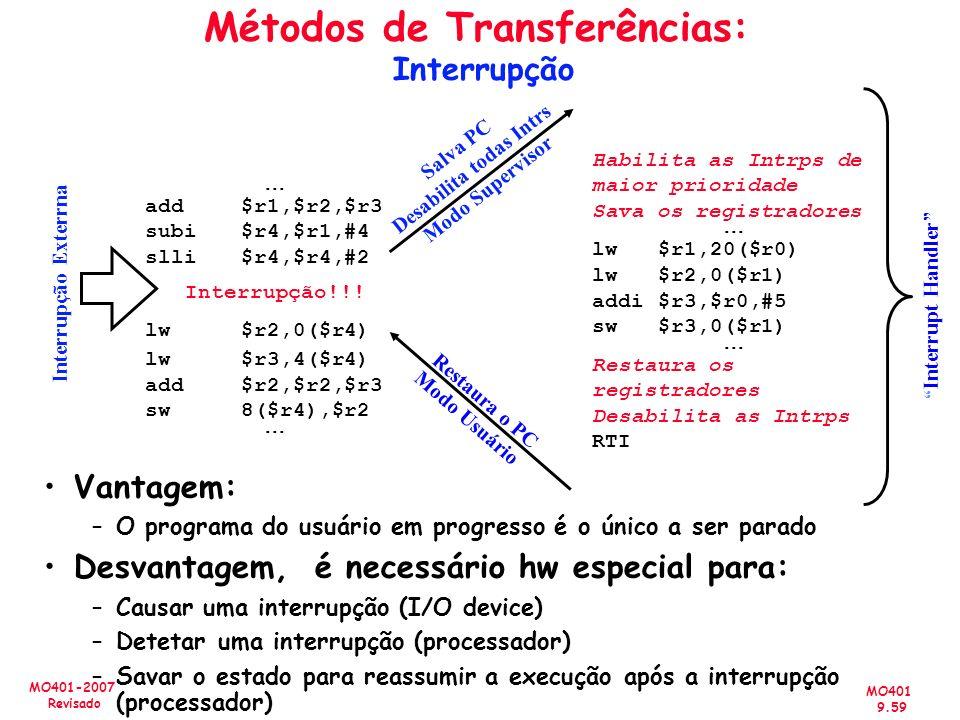 MO401 9.59 MO401-2007 Revisado Métodos de Transferências: Interrupção add $r1,$r2,$r3 subi $r4,$r1,#4 slli $r4,$r4,#2 Interrupção!!! lw$r2,0($r4) lw$r