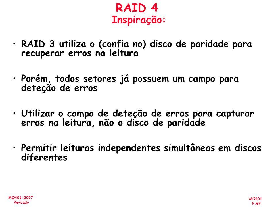 MO401 9.69 MO401-2007 Revisado RAID 4 Inspiração: RAID 3 utiliza o (confia no) disco de paridade para recuperar erros na leitura Porém, todos setores
