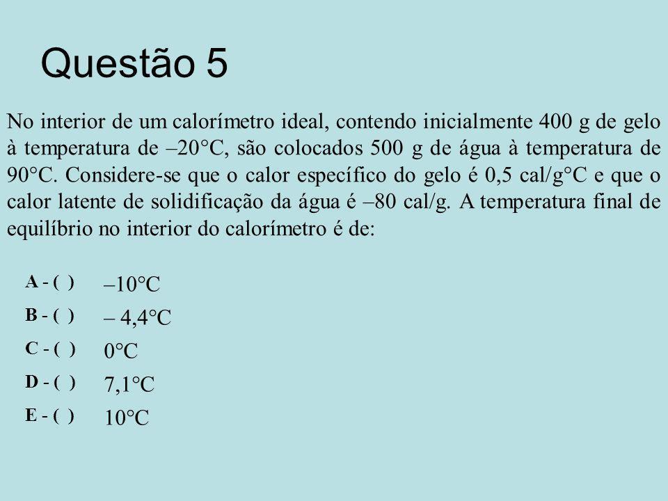 Questão 5 No interior de um calorímetro ideal, contendo inicialmente 400 g de gelo à temperatura de –20°C, são colocados 500 g de água à temperatura de 90°C.