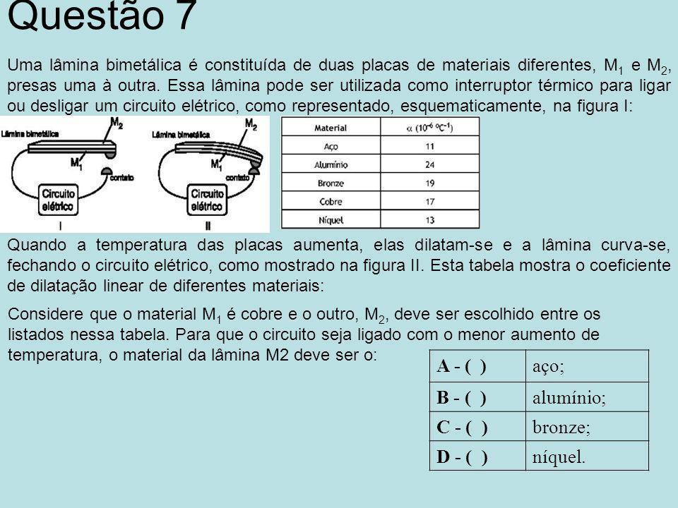 Questão 7 Uma lâmina bimetálica é constituída de duas placas de materiais diferentes, M 1 e M 2, presas uma à outra.