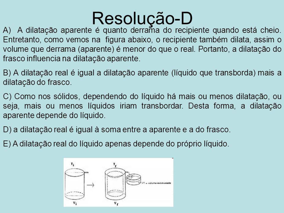 Resolução-D A) A dilatação aparente é quanto derrama do recipiente quando está cheio.