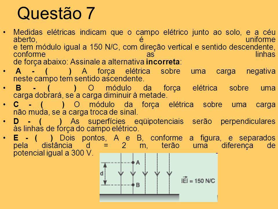 Questão 7 Medidas elétricas indicam que o campo elétrico junto ao solo, e a céu aberto, é uniforme e tem módulo igual a 150 N/C, com direção vertical