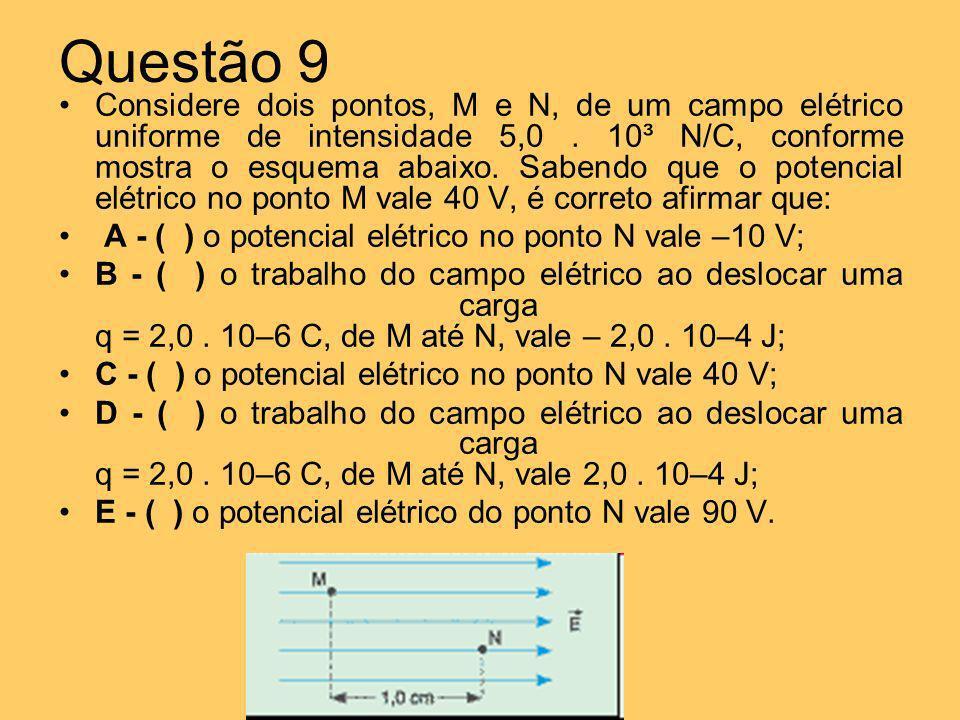 Questão 9 Considere dois pontos, M e N, de um campo elétrico uniforme de intensidade 5,0. 10³ N/C, conforme mostra o esquema abaixo. Sabendo que o pot