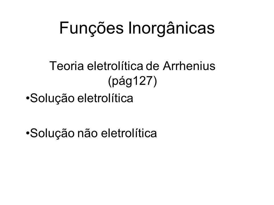 Funções Inorgânicas Teoria eletrolítica de Arrhenius (pág127) Solução eletrolítica Solução não eletrolítica