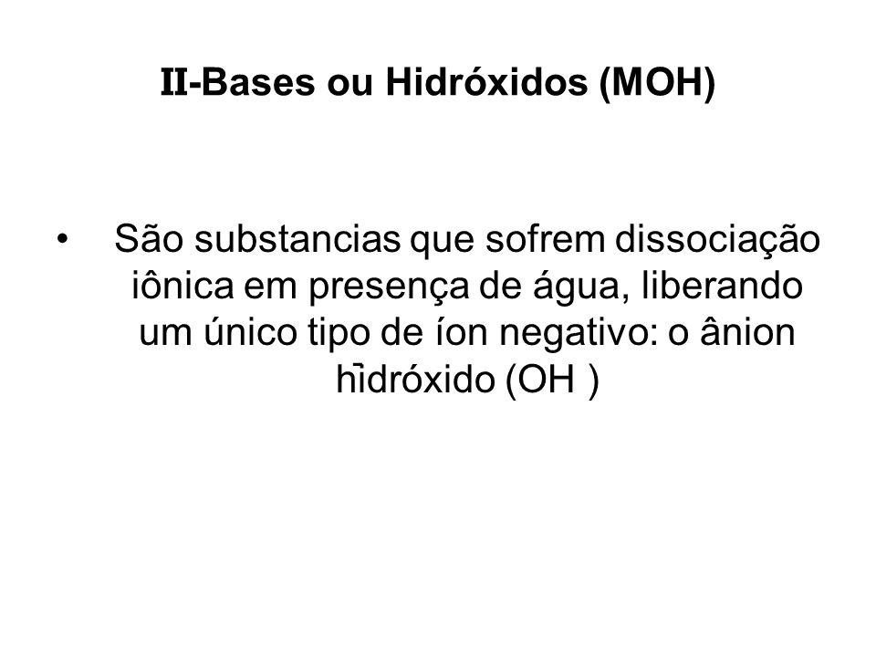 II -Bases ou Hidróxidos (MOH) São substancias que sofrem dissociação iônica em presença de água, liberando um único tipo de íon negativo: o ânion hidr