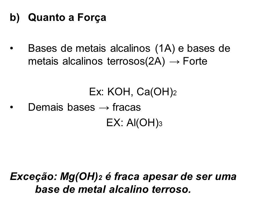 Exceção: Mg(OH) 2 é fraca apesar de ser uma base de metal alcalino terroso. b)Quanto a Força Bases de metais alcalinos (1A) e bases de metais alcalino
