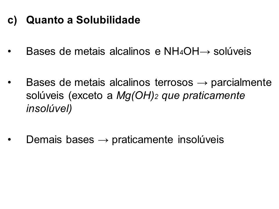 c)Quanto a Solubilidade Bases de metais alcalinos e NH 4 OH solúveis Bases de metais alcalinos terrosos parcialmente solúveis (exceto a Mg(OH) 2 que p