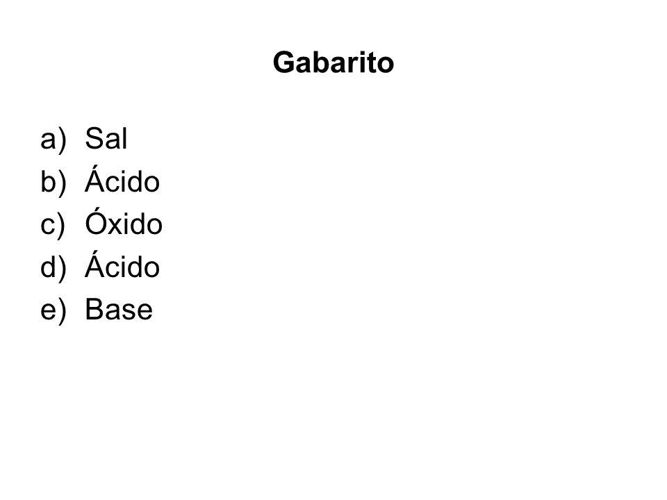 Gabarito a)Sal b)Ácido c)Óxido d)Ácido e)Base