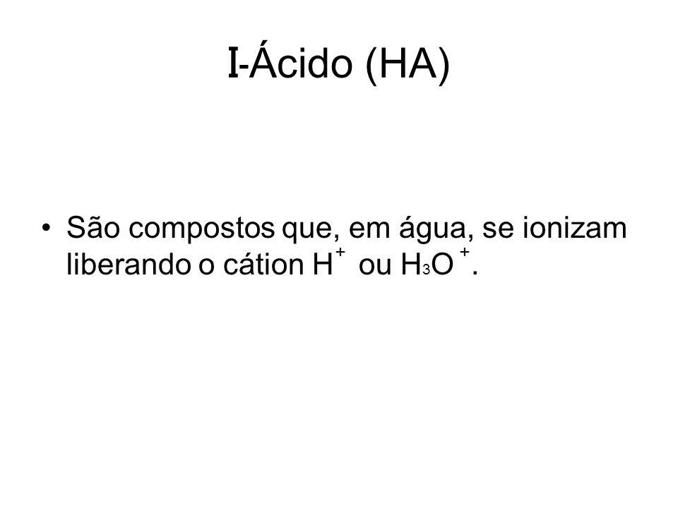 I- Ácido (HA) São compostos que, em água, se ionizam liberando o cátion H ou H 3 O. ++