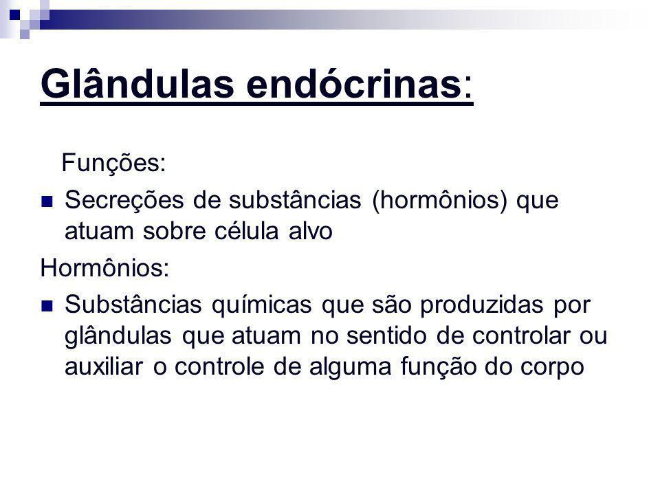 Glândulas endócrinas: Funções: Secreções de substâncias (hormônios) que atuam sobre célula alvo Hormônios: Substâncias químicas que são produzidas por