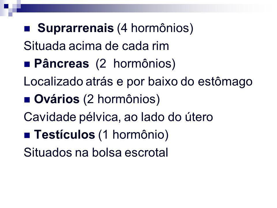 Suprarrenais (4 hormônios) Situada acima de cada rim Pâncreas (2 hormônios) Localizado atrás e por baixo do estômago Ovários (2 hormônios) Cavidade pé